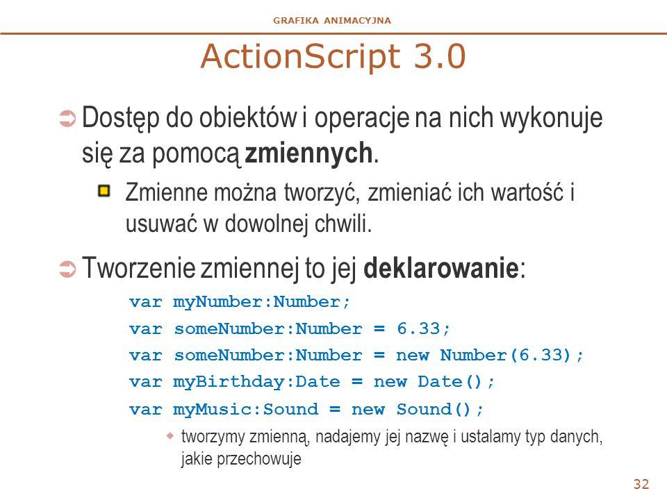 GRAFIKA ANIMACYJNA ActionScript 3.0  Dostęp do obiektów i operacje na nich wykonuje się za pomocą zmiennych. Zmienne można tworzyć, zmieniać ich wart