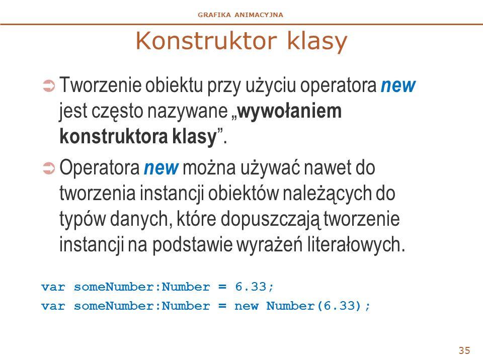 """GRAFIKA ANIMACYJNA Konstruktor klasy  Tworzenie obiektu przy użyciu operatora new jest często nazywane """" wywołaniem konstruktora klasy """".  Operatora"""