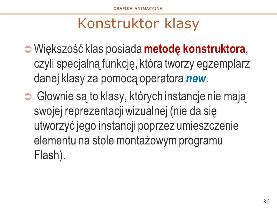 GRAFIKA ANIMACYJNA Konstruktor klasy  Większość klas posiada metodę konstruktora, czyli specjalną funkcję, która tworzy egzemplarz danej klasy za pom