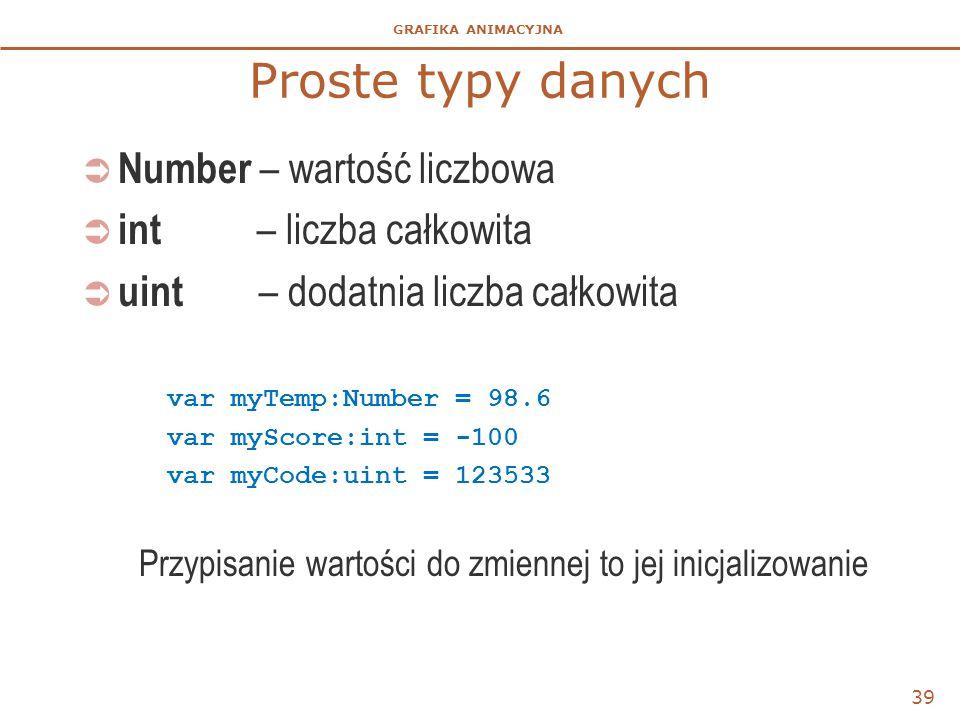 GRAFIKA ANIMACYJNA Proste typy danych  Number – wartość liczbowa  int – liczba całkowita  uint – dodatnia liczba całkowita var myTemp:Number = 98.6