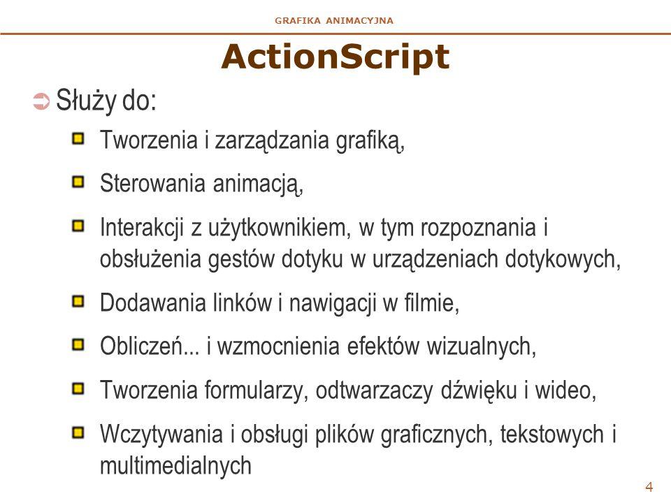 GRAFIKA ANIMACYJNA 4 ActionScript  Służy do: Tworzenia i zarządzania grafiką, Sterowania animacją, Interakcji z użytkownikiem, w tym rozpoznania i ob