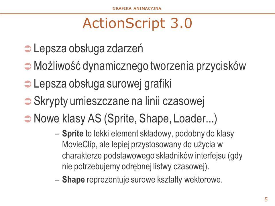 GRAFIKA ANIMACYJNA ActionScript 3.0  Lepsza obsługa zdarzeń  Możliwość dynamicznego tworzenia przycisków  Lepsza obsługa surowej grafiki  Skrypty