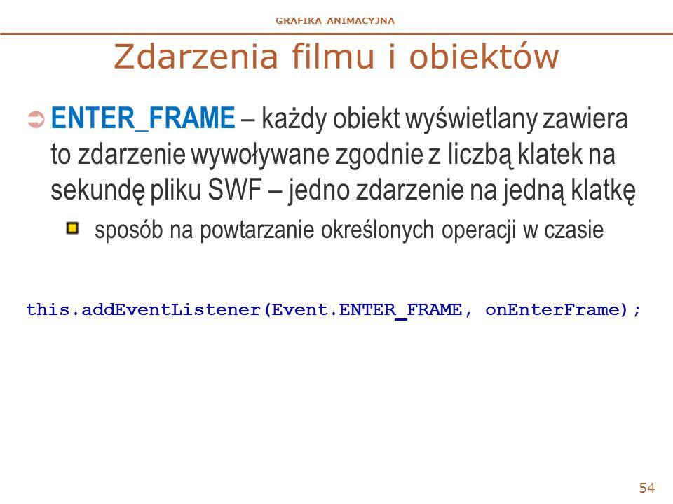 GRAFIKA ANIMACYJNA Zdarzenia filmu i obiektów  ENTER_FRAME – każdy obiekt wyświetlany zawiera to zdarzenie wywoływane zgodnie z liczbą klatek na seku