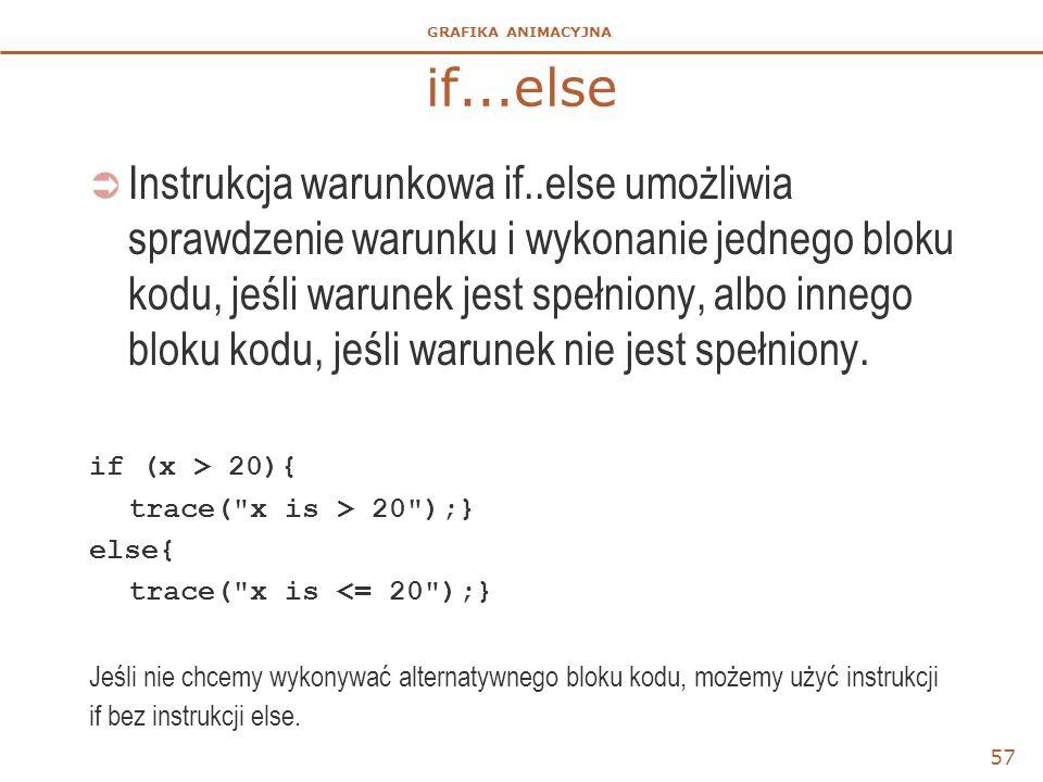 GRAFIKA ANIMACYJNA if...else  Instrukcja warunkowa if..else umożliwia sprawdzenie warunku i wykonanie jednego bloku kodu, jeśli warunek jest spełnion