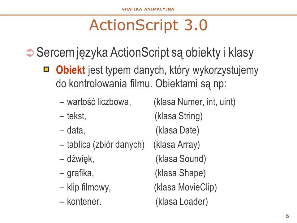 GRAFIKA ANIMACYJNA ActionScript 3.0  Sercem języka ActionScript są obiekty i klasy Obiekt jest typem danych, który wykorzystujemy do kontrolowania fi