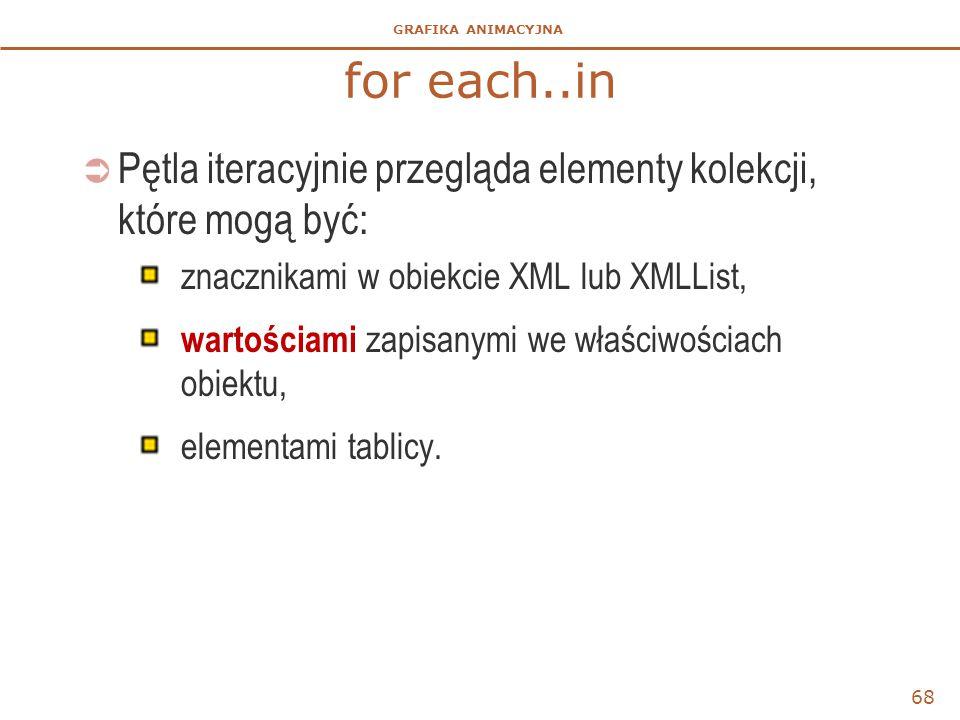 GRAFIKA ANIMACYJNA for each..in  Pętla iteracyjnie przegląda elementy kolekcji, które mogą być: znacznikami w obiekcie XML lub XMLList, wartościami z