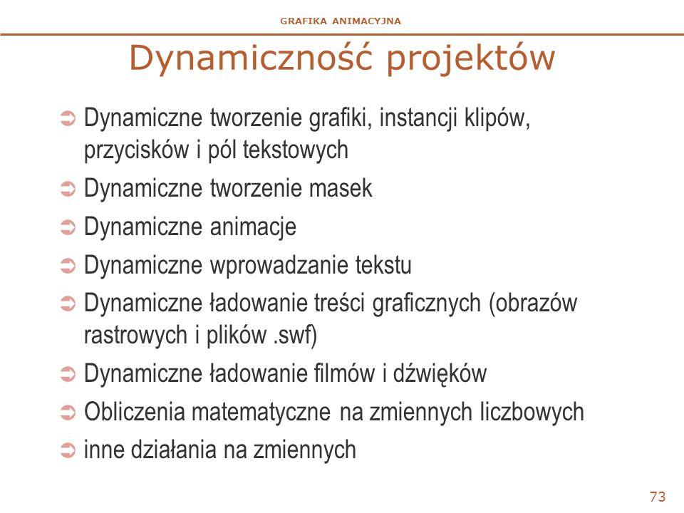GRAFIKA ANIMACYJNA Dynamiczność projektów  Dynamiczne tworzenie grafiki, instancji klipów, przycisków i pól tekstowych  Dynamiczne tworzenie masek 