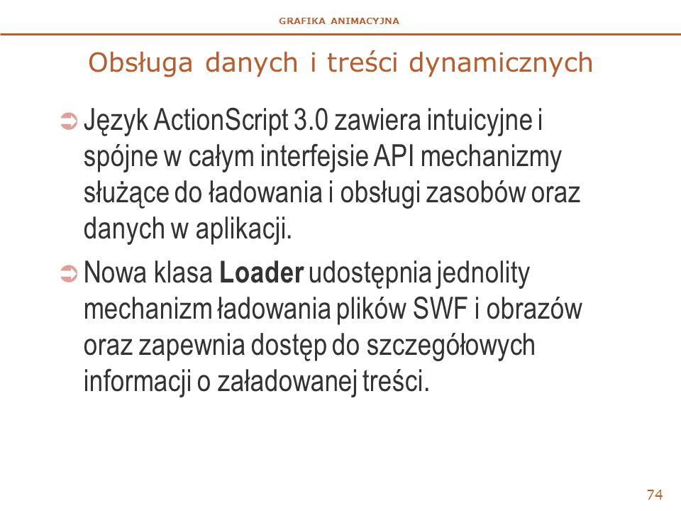 GRAFIKA ANIMACYJNA Obsługa danych i treści dynamicznych  Język ActionScript 3.0 zawiera intuicyjne i spójne w całym interfejsie API mechanizmy służąc