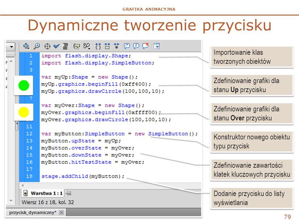 GRAFIKA ANIMACYJNA Dynamiczne tworzenie przycisku 79 Importowanie klas tworzonych obiektów Zdefiniowanie grafiki dla stanu Up przycisku Zdefiniowanie