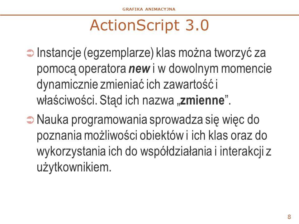 GRAFIKA ANIMACYJNA ActionScript 3.0  Instancje (egzemplarze) klas można tworzyć za pomocą operatora new i w dowolnym momencie dynamicznie zmieniać ic
