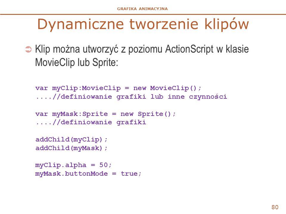 GRAFIKA ANIMACYJNA Dynamiczne tworzenie klipów  Klip można utworzyć z poziomu ActionScript w klasie MovieClip lub Sprite: 80 var myClip:MovieClip = n