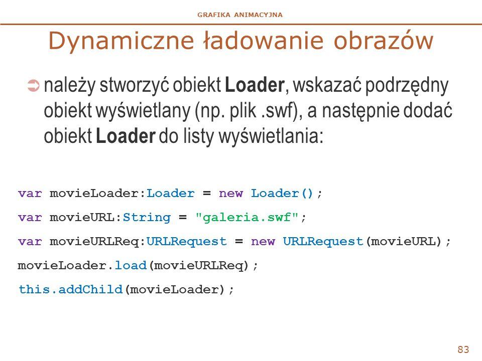 GRAFIKA ANIMACYJNA Dynamiczne ładowanie obrazów  należy stworzyć obiekt Loader, wskazać podrzędny obiekt wyświetlany (np. plik.swf), a następnie doda