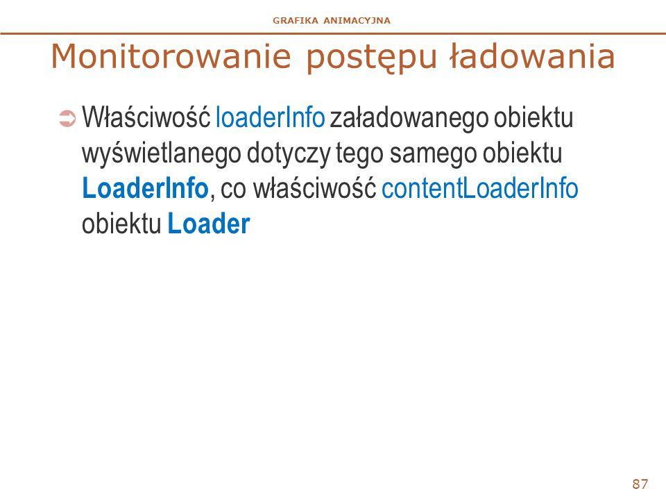 GRAFIKA ANIMACYJNA Monitorowanie postępu ładowania  Właściwość loaderInfo załadowanego obiektu wyświetlanego dotyczy tego samego obiektu LoaderInfo,