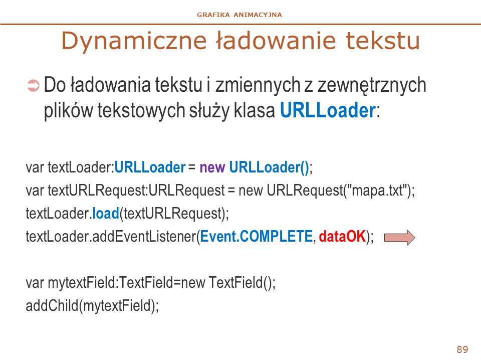GRAFIKA ANIMACYJNA Dynamiczne ładowanie tekstu  Do ładowania tekstu i zmiennych z zewnętrznych plików tekstowych służy klasa URLLoader : var textLoad