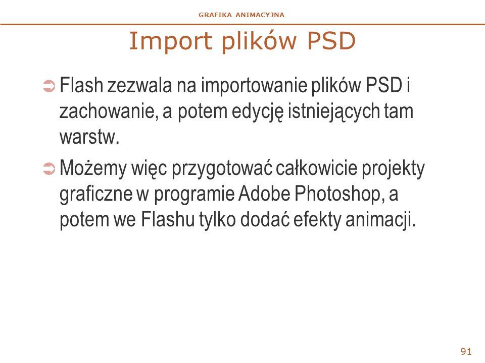 GRAFIKA ANIMACYJNA Import plików PSD  Flash zezwala na importowanie plików PSD i zachowanie, a potem edycję istniejących tam warstw.  Możemy więc pr