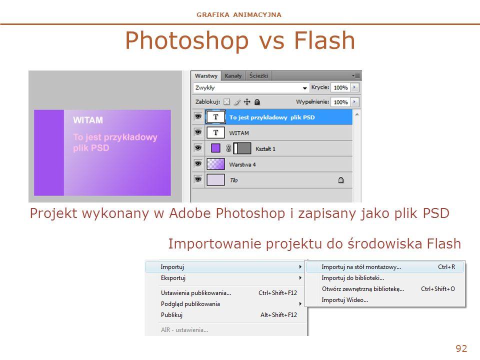 GRAFIKA ANIMACYJNA Photoshop vs Flash 92 Projekt wykonany w Adobe Photoshop i zapisany jako plik PSD Importowanie projektu do środowiska Flash