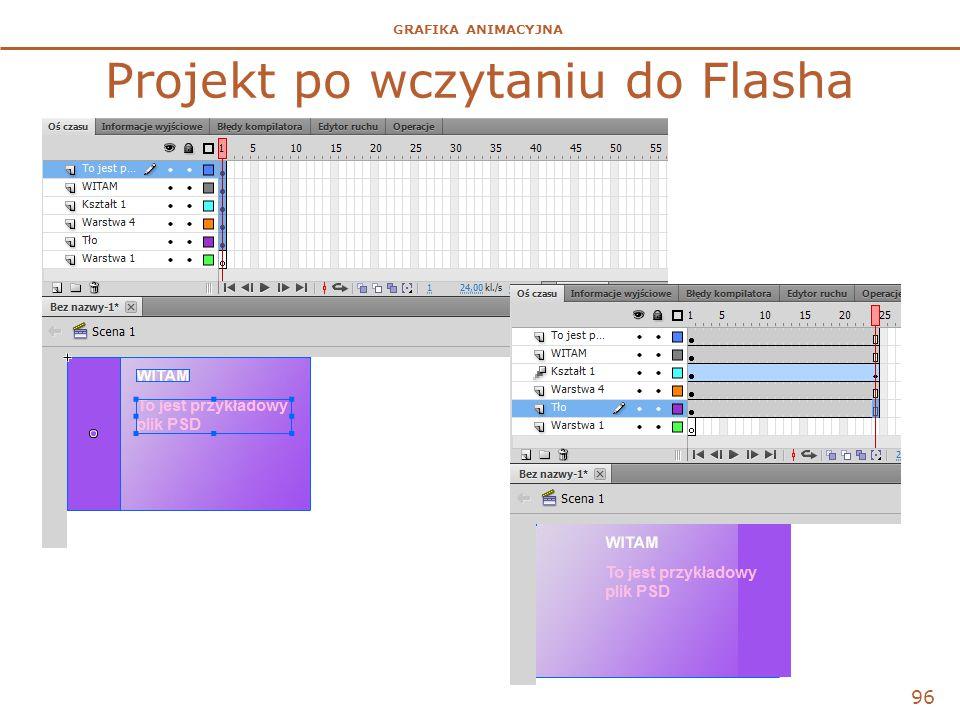 GRAFIKA ANIMACYJNA Projekt po wczytaniu do Flasha 96