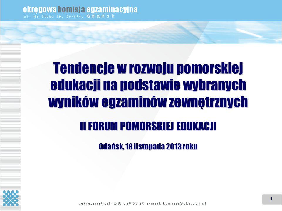 1 1 Tendencje w rozwoju pomorskiej edukacji na podstawie wybranych wyników egzaminów zewnętrznych II FORUM POMORSKIEJ EDUKACJI Gdańsk, 18 listopada 2013 roku