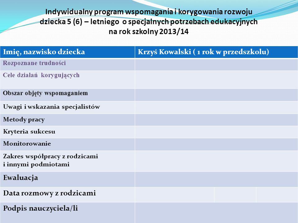 Imię, nazwisko dzieckaKrzyś Kowalski ( 1 rok w przedszkolu) Rozpoznane umiejętności, zdolności Cele działań wspierających Obszar objęty doskonaleniem Metody pracy Kryteria sukcesu Monitorowanie Zakres współpracy z rodzicami i innymi podmiotami Ewaluacja Data rozmowy z rodzicami Podpis nauczyciela/li Indywidualny program wspomagania rozwoju dziecka 5 (6) –letniego o specjalnych potrzebach edukacyjnych na rok szkolny 2013/14