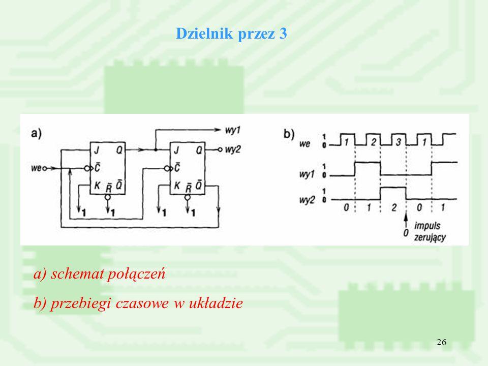 26 Dzielnik przez 3 a) schemat połączeń b) przebiegi czasowe w układzie