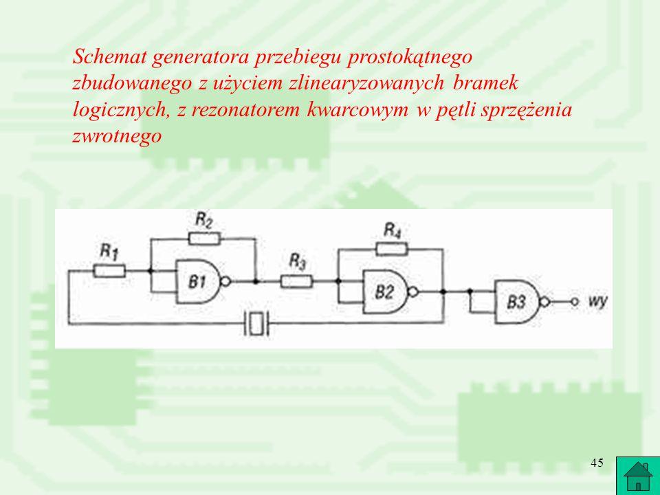 45 Schemat generatora przebiegu prostokątnego zbudowanego z użyciem zlinearyzowanych bramek logicznych, z rezonatorem kwarcowym w pętli sprzężenia zwr