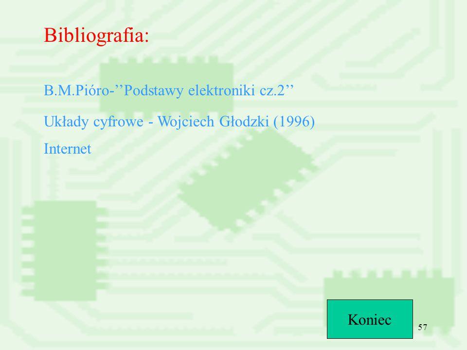 57 Bibliografia: B.M.Pióro-''Podstawy elektroniki cz.2'' Układy cyfrowe - Wojciech Głodzki (1996) Internet Koniec