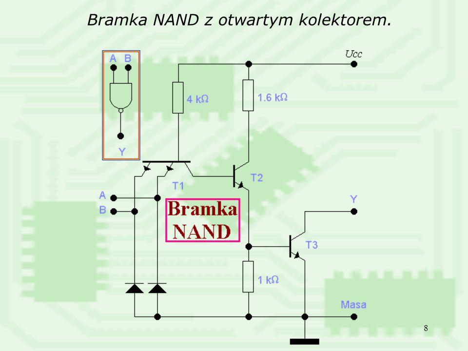 39 Transkoder kodu BCD na kod wskaźnika 7-segmentowego a) segment wskaźnika b) tablica działania transkodera c) tablica Karnaugha dla sygnału wyjściowego a d) funkcja realizacyjna dla wyjścia