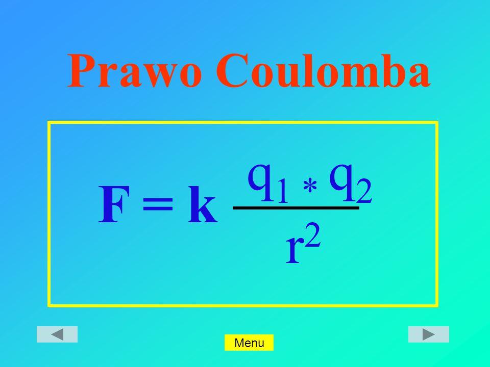 Prawo Coulomba F = k q 1 * q 2 r2r2 Menu