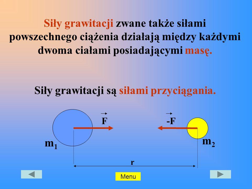 Siły grawitacji zwane także siłami powszechnego ciążenia działają między każdymi dwoma ciałami posiadającymi masę.