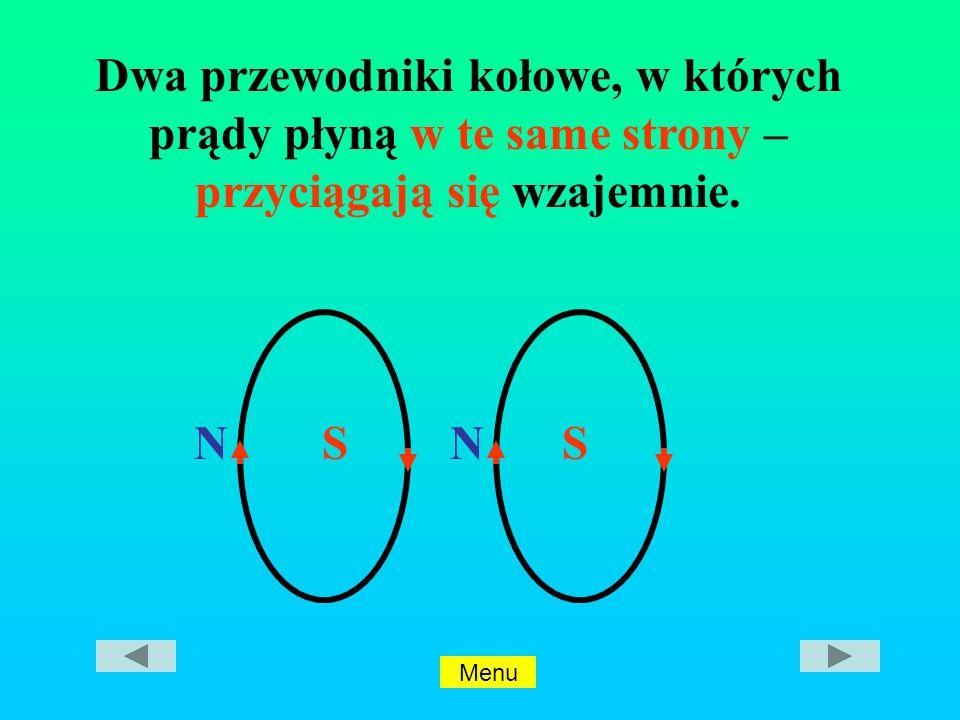 NSNS Dwa przewodniki kołowe, w których prądy płyną w te same strony – przyciągają się wzajemnie.
