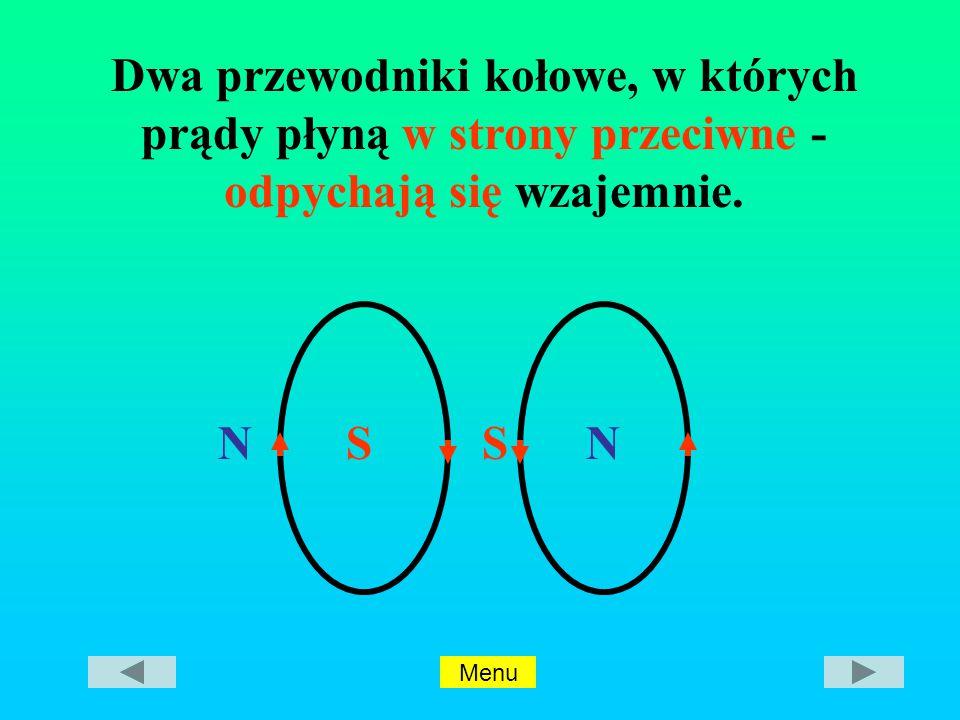 NSSN Dwa przewodniki kołowe, w których prądy płyną w strony przeciwne - odpychają się wzajemnie.
