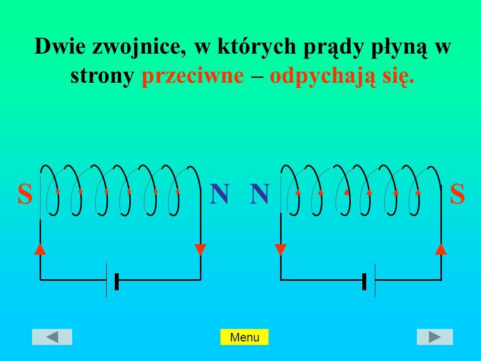 SN SN Dwie zwojnice, w których prądy płyną w strony przeciwne – odpychają się. Menu