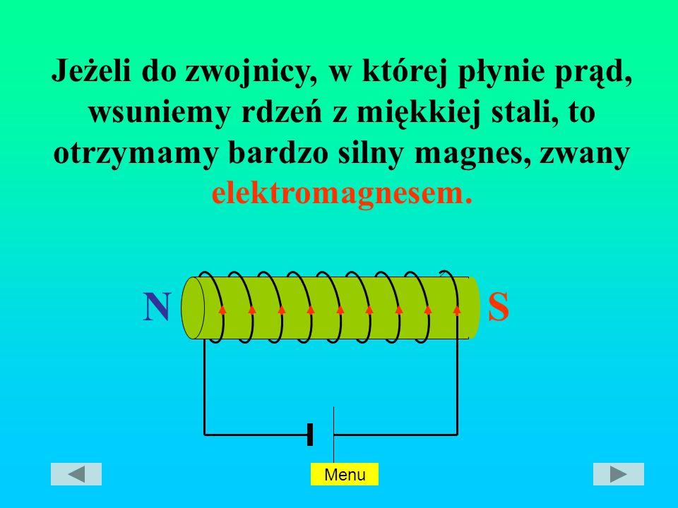 NS Jeżeli do zwojnicy, w której płynie prąd, wsuniemy rdzeń z miękkiej stali, to otrzymamy bardzo silny magnes, zwany elektromagnesem.