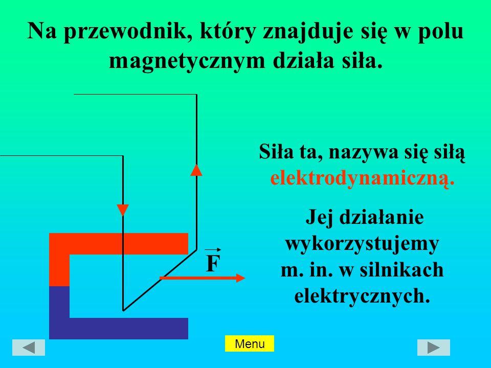 Siła ta, nazywa się siłą elektrodynamiczną.Jej działanie wykorzystujemy m.