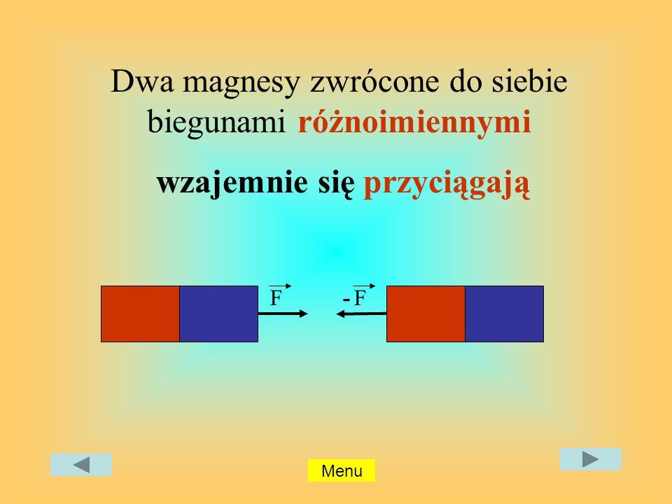 F Dwa magnesy zwrócone do siebie biegunami różnoimiennymi wzajemnie się przyciągają F- Menu