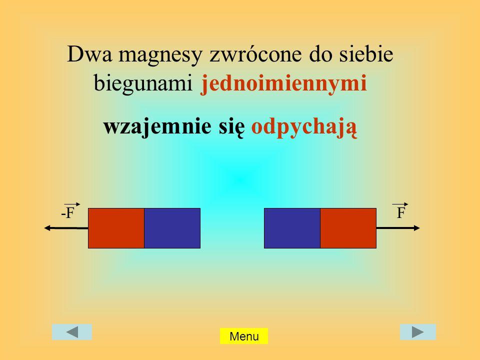 Dwa magnesy zwrócone do siebie biegunami jednoimiennymi wzajemnie się odpychają -F F Menu
