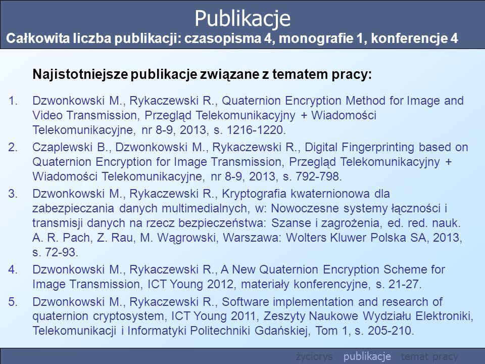 Publikacje Całkowita liczba publikacji: czasopisma 4, monografie 1, konferencje 4 Najistotniejsze publikacje związane z tematem pracy: 1.Dzwonkowski M