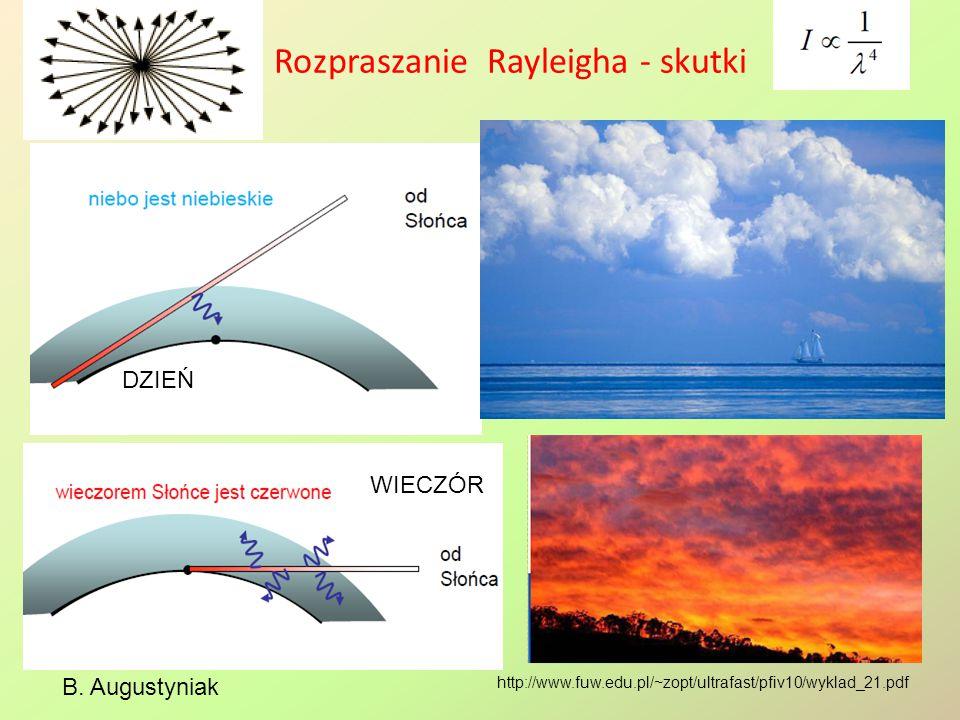 Rozpraszanie Rayleigha - skutki B. Augustyniak http://www.fuw.edu.pl/~zopt/ultrafast/pfiv10/wyklad_21.pdf DZIEŃ WIECZÓR