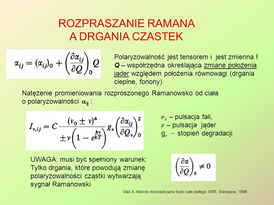 ROZPRASZANIE RAMANA A DRGANIA CZASTEK Oleś A. Metody doświadczalne fizyki ciała stałego, WNT, Warszawa, 1998 Polaryzowalność jest tensorem i jest zmie
