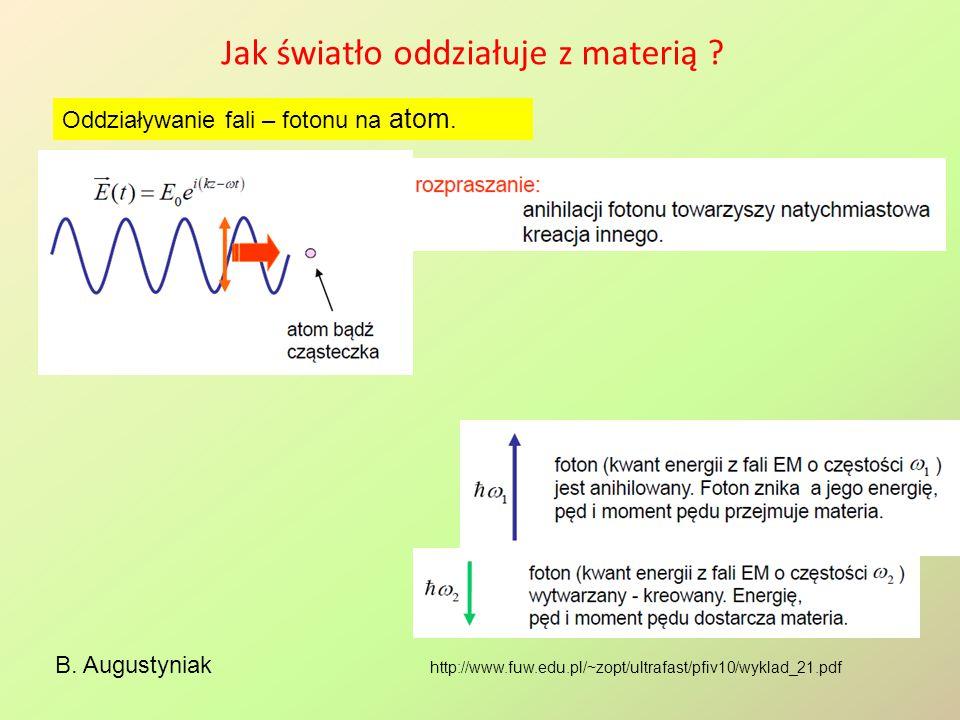 Jak światło oddziałuje z materią ? B. Augustyniak Oddziaływanie fali – fotonu na atom. http://www.fuw.edu.pl/~zopt/ultrafast/pfiv10/wyklad_21.pdf