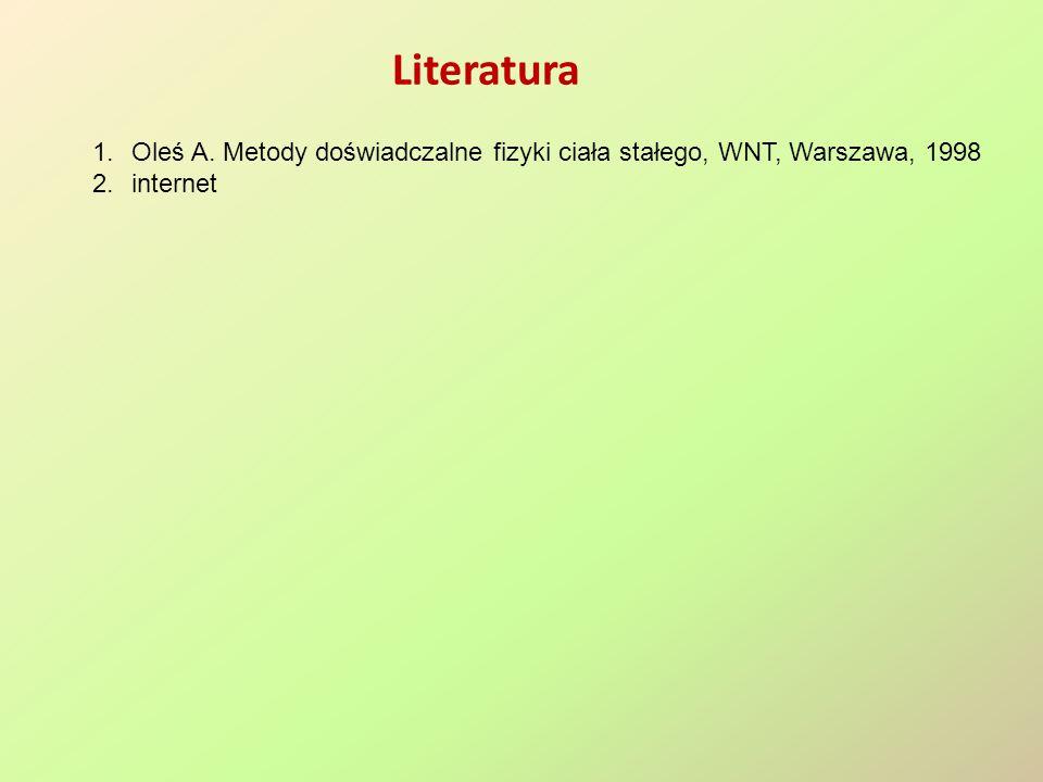 Literatura 1.Oleś A. Metody doświadczalne fizyki ciała stałego, WNT, Warszawa, 1998 2.internet