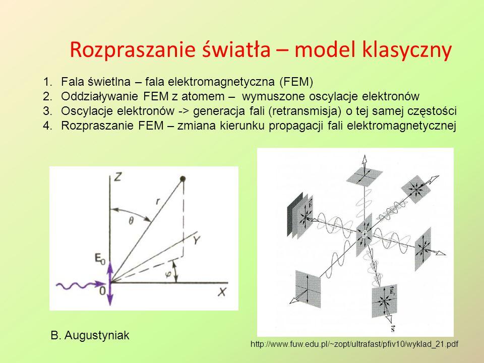 Rozpraszanie światła – model klasyczny B. Augustyniak 1.Fala świetlna – fala elektromagnetyczna (FEM) 2.Oddziaływanie FEM z atomem – wymuszone oscylac
