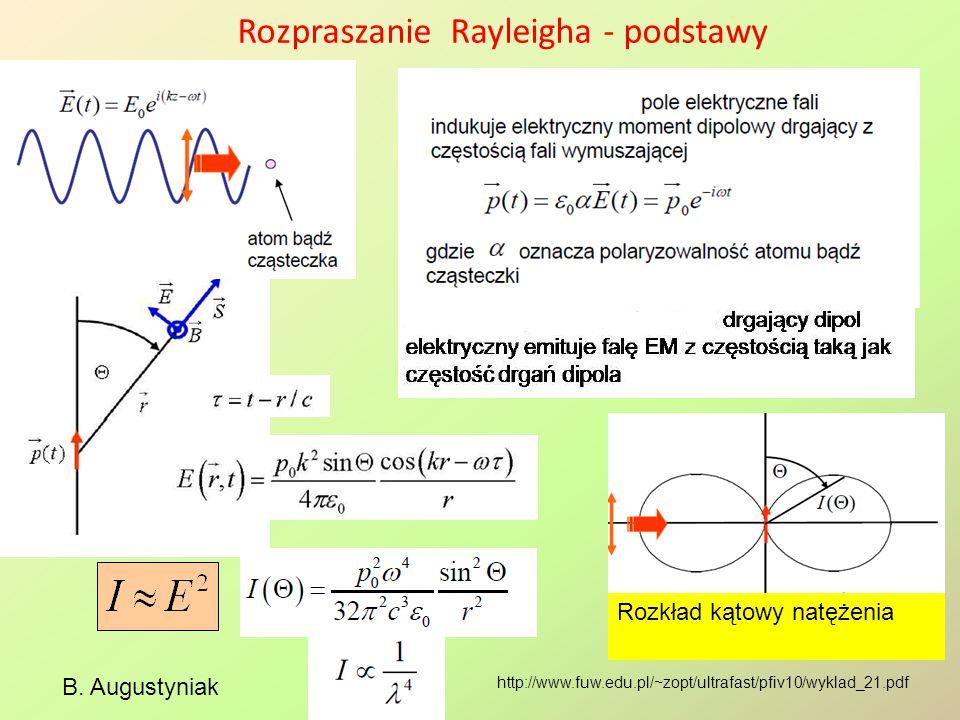 Rozpraszanie Rayleigha - podstawy B. Augustyniak http://www.fuw.edu.pl/~zopt/ultrafast/pfiv10/wyklad_21.pdf Rozkład kątowy natężenia
