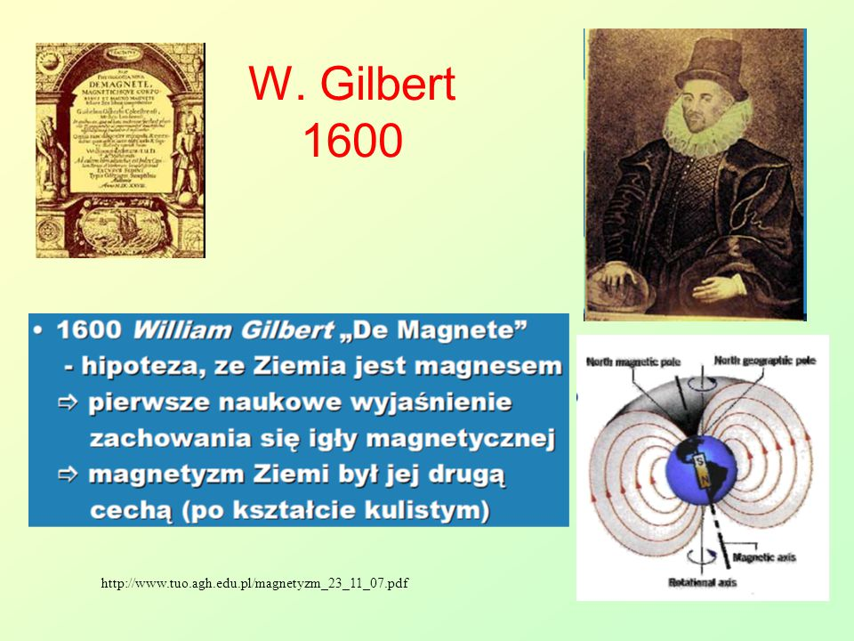 http://www.tuo.agh.edu.pl/magnetyzm_23_11_07.pdf W. Gilbert 1600