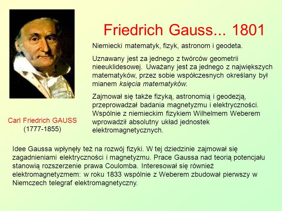 Friedrich Gauss... 1801 Carl Friedrich GAUSS (1777-1855) Niemiecki matematyk, fizyk, astronom i geodeta. Uznawany jest za jednego z twórców geometrii
