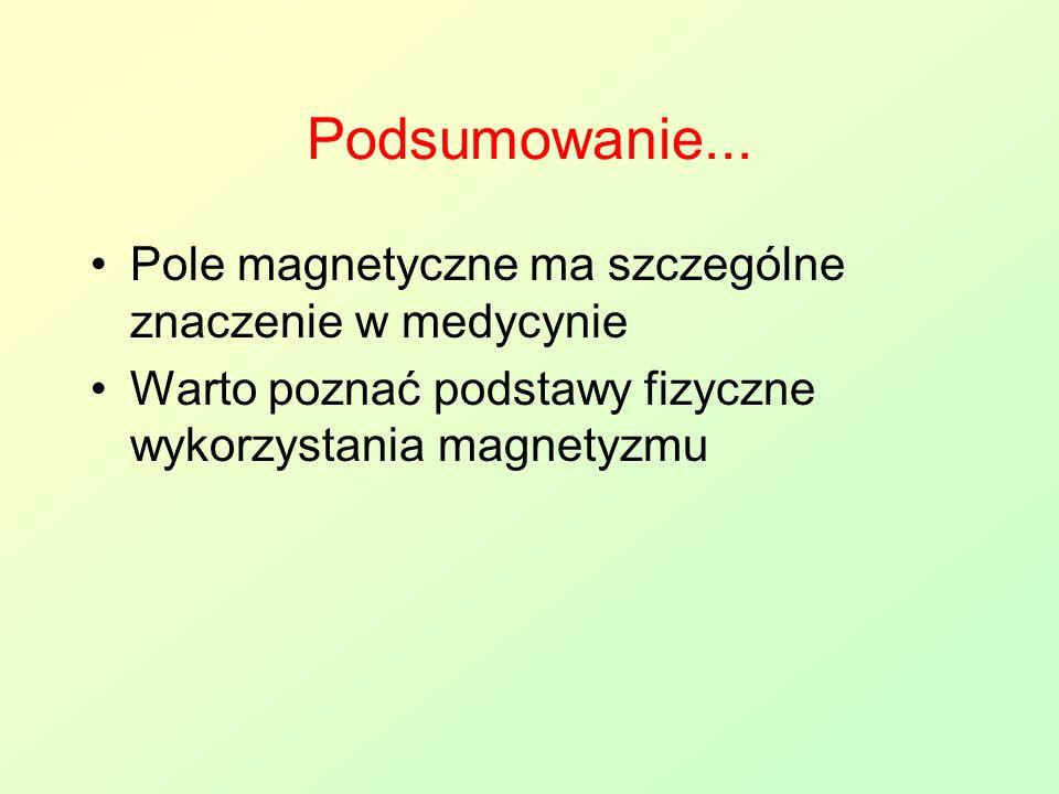 Podsumowanie... Pole magnetyczne ma szczególne znaczenie w medycynie Warto poznać podstawy fizyczne wykorzystania magnetyzmu