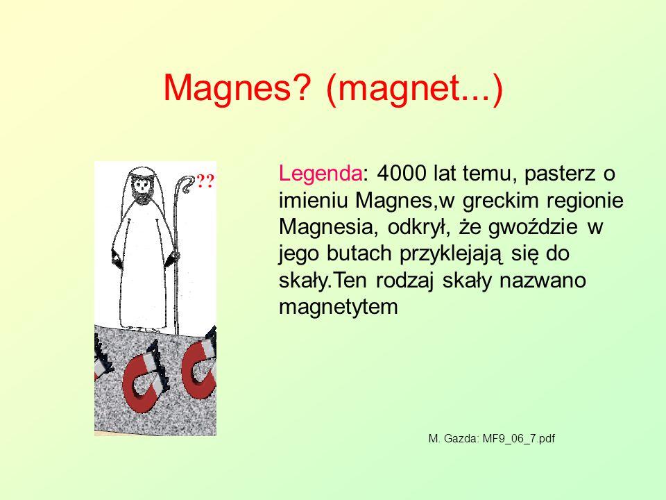 Magnes? (magnet...) Legenda: 4000 lat temu, pasterz o imieniu Magnes,w greckim regionie Magnesia, odkrył, że gwoździe w jego butach przyklejają się do