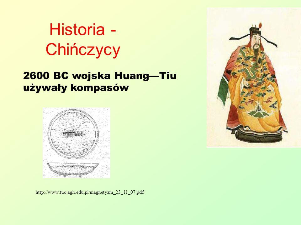 Historia - Chińczycy http://www.tuo.agh.edu.pl/magnetyzm_23_11_07.pdf 2600 BC wojska Huang—Tiu używały kompasów