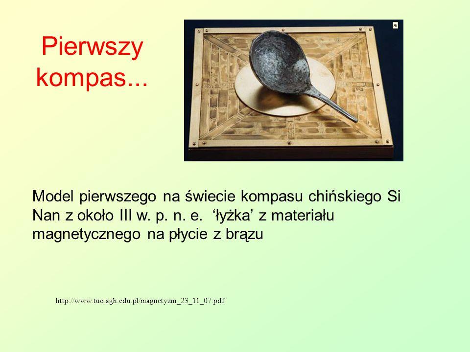 Pierwszy kompas... http://www.tuo.agh.edu.pl/magnetyzm_23_11_07.pdf Model pierwszego na świecie kompasu chińskiego Si Nan z około III w. p. n. e. 'łyż