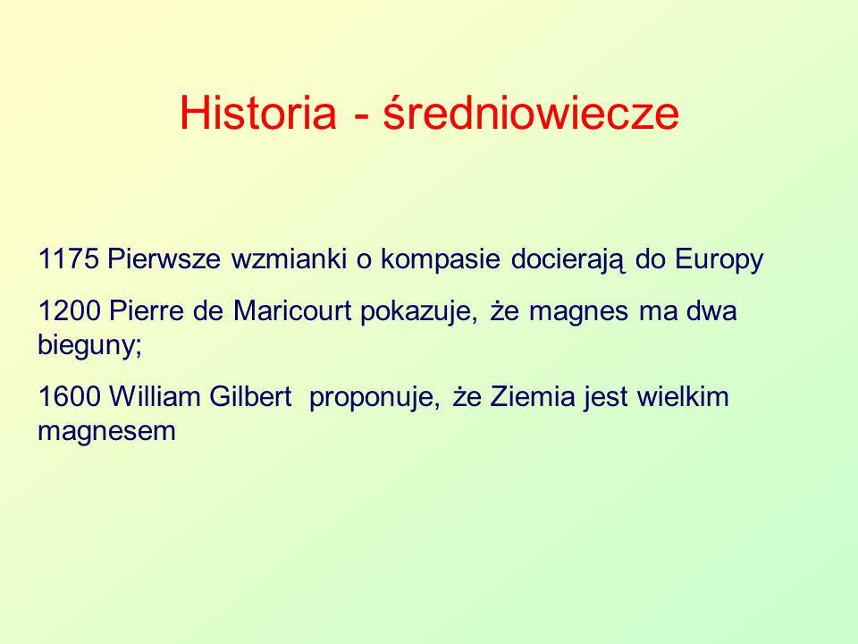 Historia - średniowiecze 1175 Pierwsze wzmianki o kompasie docierają do Europy 1200 Pierre de Maricourt pokazuje, że magnes ma dwa bieguny; 1600 Willi